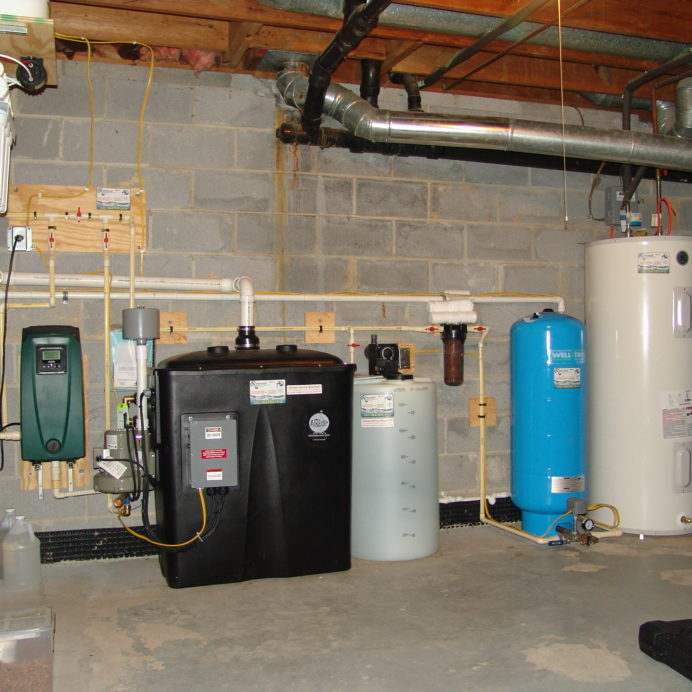 A Reverse Osmosis System for 99.9% contamination free cooking and drinking water, a Radon Reduction System for the remediation of cancer causing Radon, a Chemical Feeder and Pump for pH and corrosion control, a Whole House Sediment Filter, A pressure tank, and a Water Heater