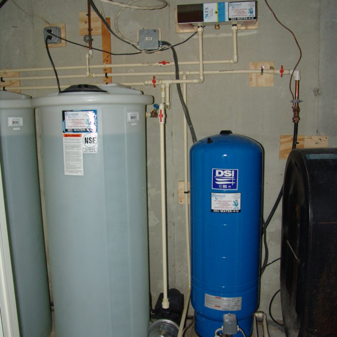 Two Water Storage Tanks, a water Re-Booster, UltraViolet Disinfection System, a Pressure Tank