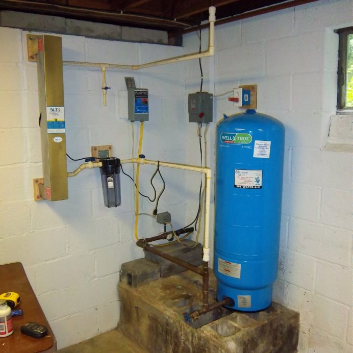 An UltraViolet Water Remediation System to remove 99.9% of all bacteria from water, a Whole House Sediment Filter, a Well Water Pressure Tank and a Well Water Pump Control Box