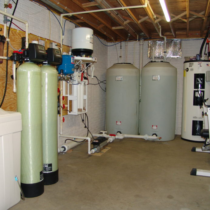 A Water Softener for hard water, an Acid Neutralizer for pH & corrosion control, a Well Pump Constant Water Pressure System, a Reverse Osmosis for 99.9% containment free cooking and drinking water and Water Storage Tanks with a pressure Re-Booster