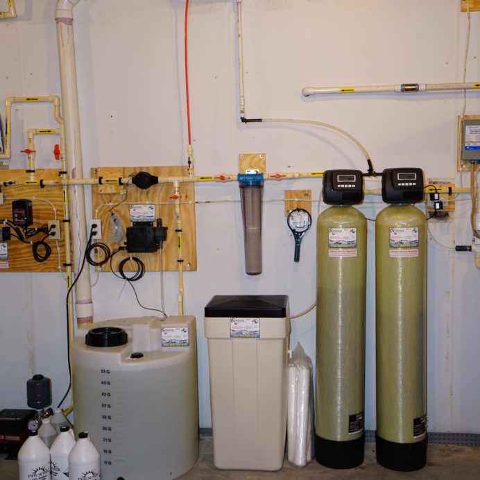 A Leak Detection Alarm, a Chemical Feeder and Solution Tank for pH and corrosion control, a Water Softener and brine Tank for hard water, a Whole House Sediment Filter and a Multi-Media Tank