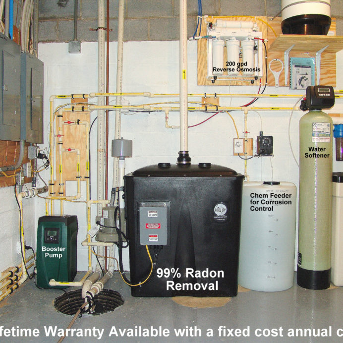 A Water Pressure Booster Pump, a Sump Pump, a Radon Reduction for the remediation of cancer causing radon in water, a Chemical Feeder and Solution Tank for ph and corrosion control, a Water Softener and Brine Tank for hard water and a Reverse Osmosis System for 99.9% contamination free cooking and drinking water