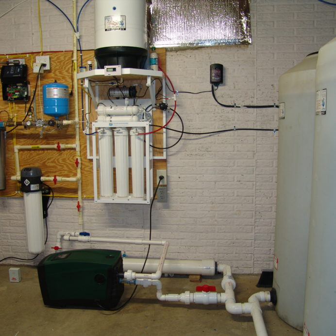 A Water Pressure Booster Pump, a Reverse Osmosis System for 99.9% contamination free drinking and cooking water ,a Constant Water Pressure System, a Whole House Sediment Filter, two Water Storage Tanks and a Leak Detection Alarm