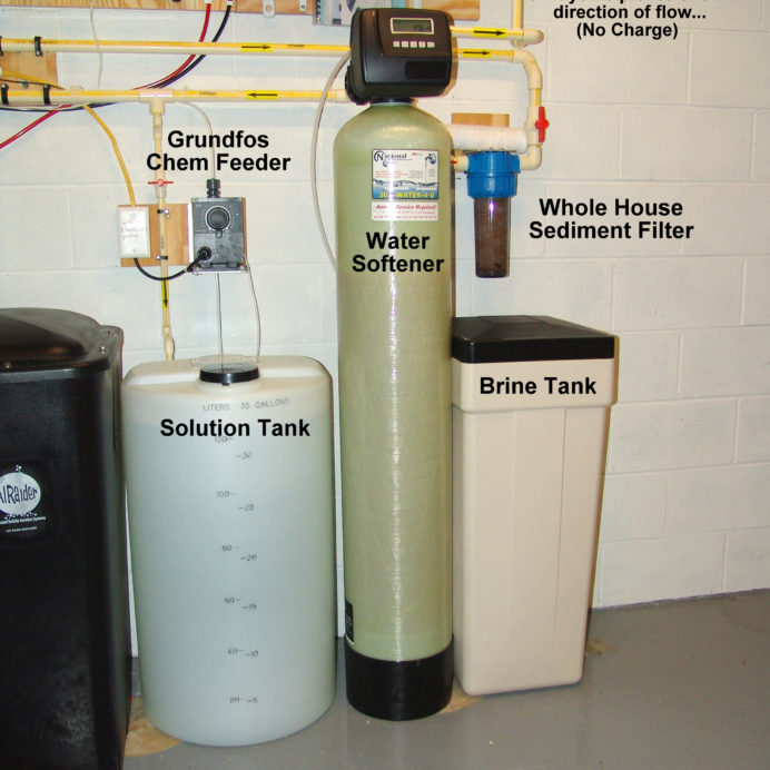 A Chemical Feeder and Solution Tank for pH and corrosion control and a Water Softener and Brine Tank for hard water