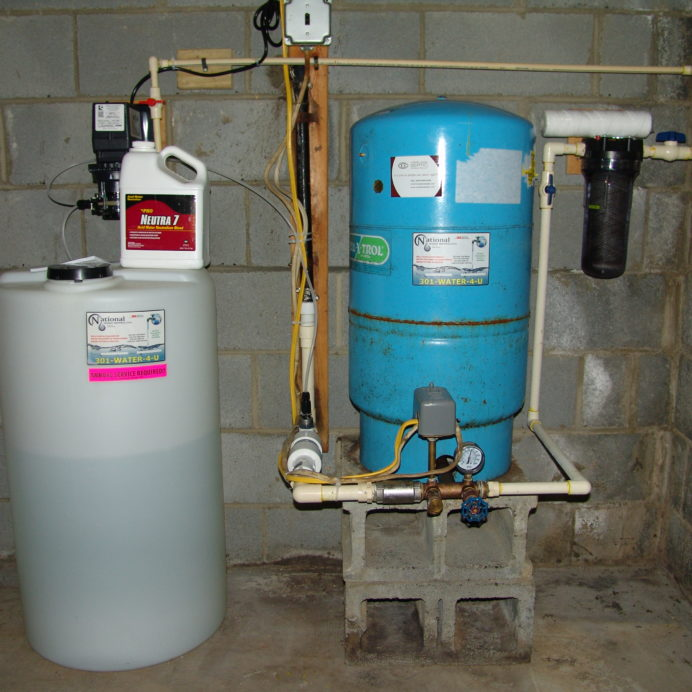 A Chemical Feeder and Solution Tank for pH and corrosion control, a Pressure Tank and a Whole House Sediment Filter