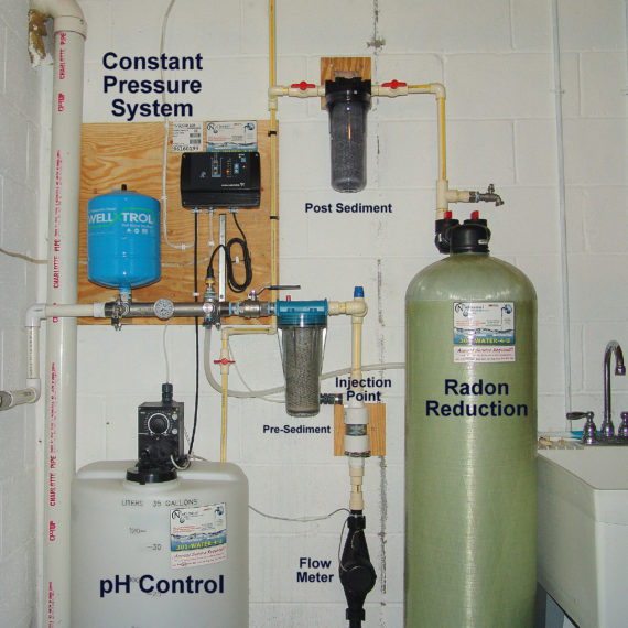 A Solution Feeder and Solution Tank for pH and corrosion control, a Constant Water Pressure System, a pre and post treatment Sediment Filter and a Radon Reduction System for the remediation of cancer causing radon in water