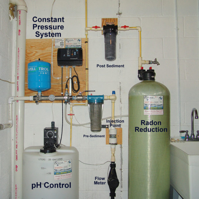 A Chemical Feeder and Solution Tank for pH and corrosion control, a Constant Water Pressure System, a pre and post treatment Sediment Filter and a Radon Reduction System for the remediation of cancer causing radon in water