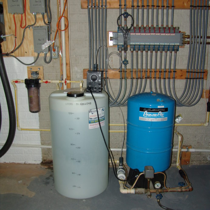 A Chemical Feeder Pump and Solution Tank for pH and corrosion control, A Pressure Tank and a Whole House Sediment Filter