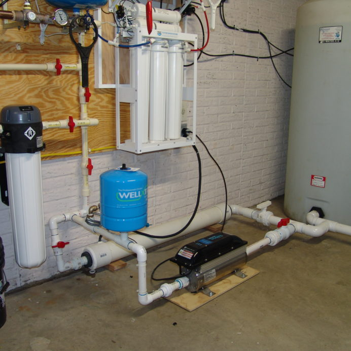 A Water Pressure Re-Booster for the Water Storage Tanks, a Reverse Osmosis System for 99.9% contamination free cooking and drinking water and a Whole House Sediment Filter