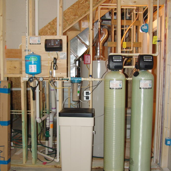A Constant Water Pressure System, a Water Softener and Brine tank for hard water and an Acid Neutralizer for pH and corrosion control