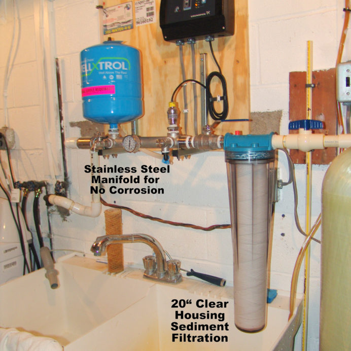 A Constant Water Pressure System and a Whole House 20 inch Sediment Filter