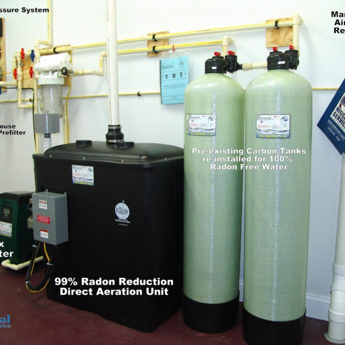 A Constant Water Pressure System, a Whole House Sediment Filter, A Water Pressure Re-Booster for the Radon Reduction System for the remediation for cancer causing radon in water