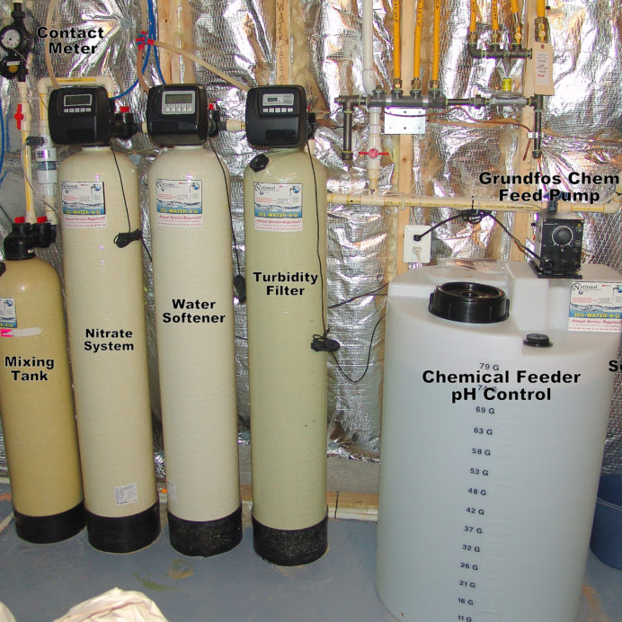 A Mixing Tank, a Nitrate System, a Water Softener for hard water, a Turbidity Filter, a Chemical Feeder Pump and solution tank for pH and corrosion control and a whole House Sediment Filter