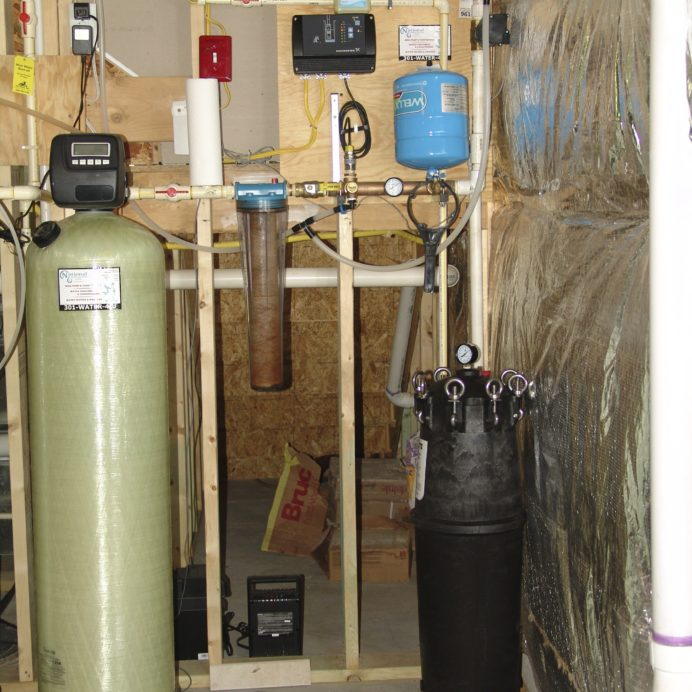 An Acid Neutralizer, a Whole House Sediment Filter, a Constant Water Pressure System and a Sediment Irrigation Filter