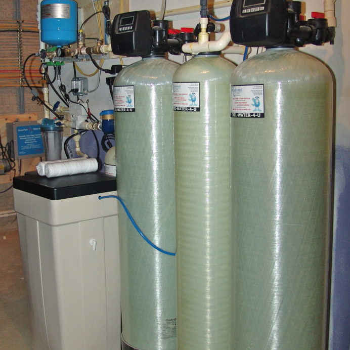 An Ozone Filter, a Water Softener and Brine Tank for hard water, a Constant Water Pressure System and a Whole House Sediment Filter