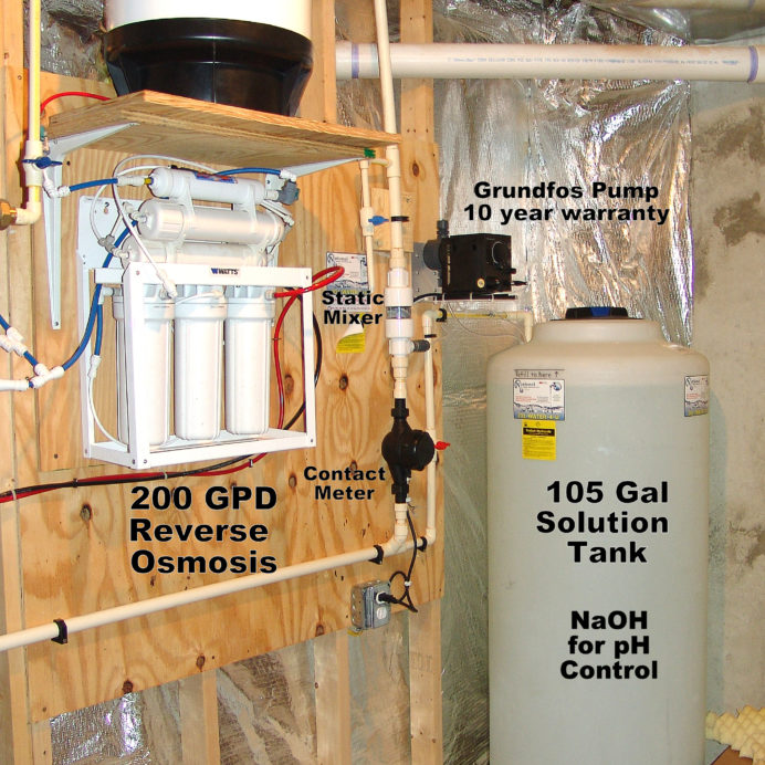 A Reverse Osmosis System for 99.9% contamination free cooking and drinking water and a Chemical Feeder Pump with a 105 gallon Solution Tank for pH and corrosion control
