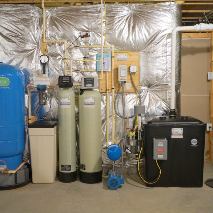 A Pressure Tank, a Whole House Sediment Filter, a Water Softener and Brine Tank for hard water, an Acid Neutralizer, a Water Pressure Re-Booster, a Radon Reduction System for the remediation of cancer causing radon in water and a Sump Pump