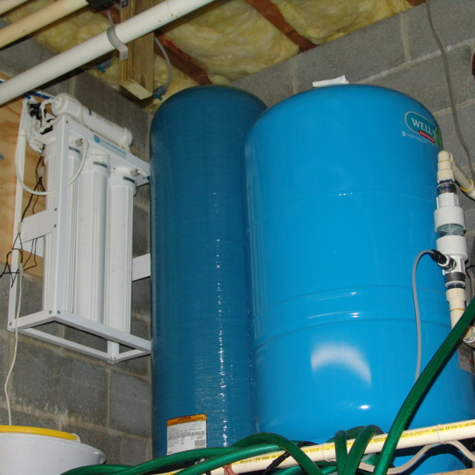 Well Water Pump Pressure Tank and a Reverse Osmosis System for 99.9% contaminant free water