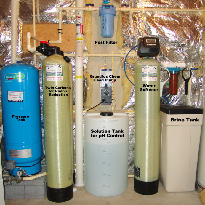 Whole House Water Treatment System, a Well Water Pressure Tank, Twin Carbon Tanks, a Chemical Feeder Pump and Solution Tank, a Water Softener with a Brine Tank, a Whole House pre and post treatment Sediment Filter