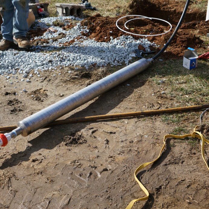 New Deep Well Water Pump being installed