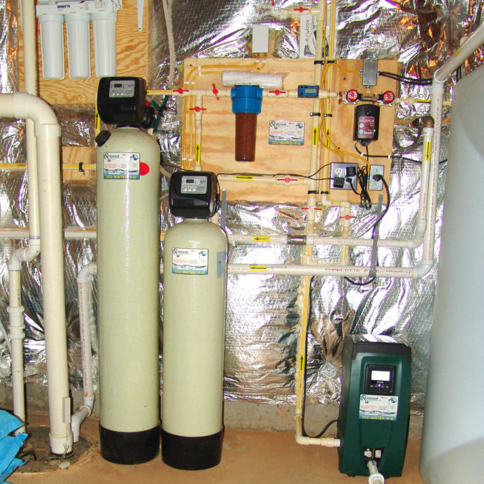 A Reverse Osmosis System for 99.9% contamination free drinking and cooking water, an Acid Neutralizer, a Water Softener for hard water, a Whole House Sediment Filter, a Flood Protection Alarm, a Water Pressure Re-Booster for the Water Storage Tank