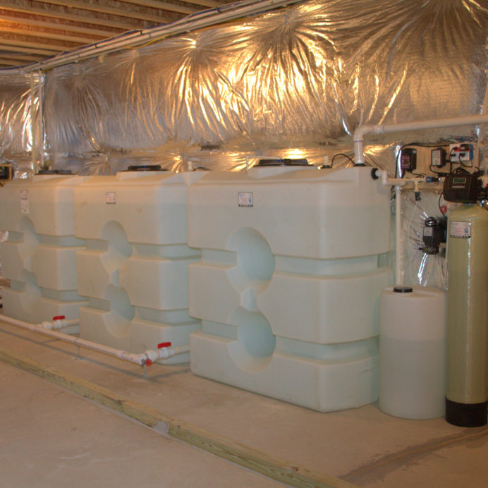 A Reverse Osmosis System for 99.9% contamination free drinking and cooking water, three Water Storage Tanks with a Constant Water Pressure System,  a Chemical Feeder and Pump for pH and corrosion control, a Water Softener and a Brine Tank for hard water, a Leak Detection Alarm System and Flood Protection Bars
