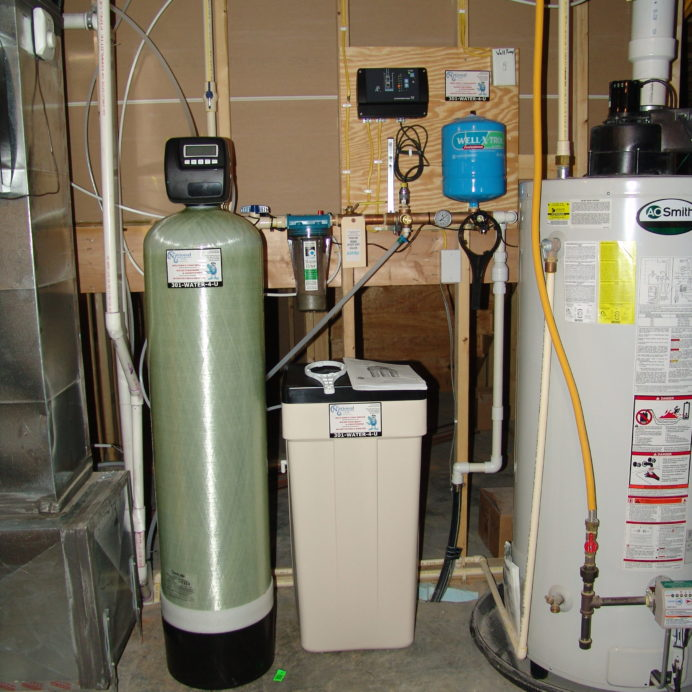 A Water Softener and Brine Tank for hard water, a Constant Water Pressure System and a Water Heater System