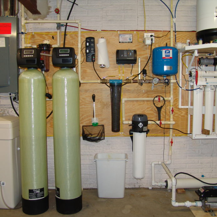 A Water Softener for hard water, an Acid Neutralizer for pH & corrosion control, a Whole House Sediment Filter, a Constant Water Pressure Well Pump Control System & a Reverse Osmosis for 99.9% contaminant free cooking and drinking water with a Water Pressure Booster