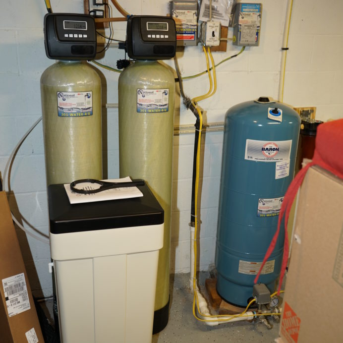 A Water Softener and Brine Tank for hard water, a Multi-Media Filter Tank and a Pressure Tank