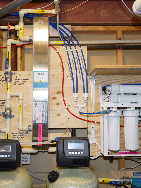 an ultraviolet light, valve heads and a reverse osmosis