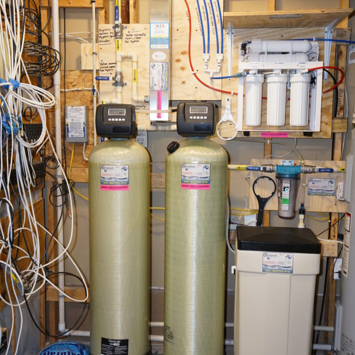 A Water Softener and Brine Tank, an Acid Neutralizer for pH and corrosion control, a Whole House Sediment Filter, Ultraviolet Disinfection System and a Reverse Osmosis System for 99.9% contamination free drinking water