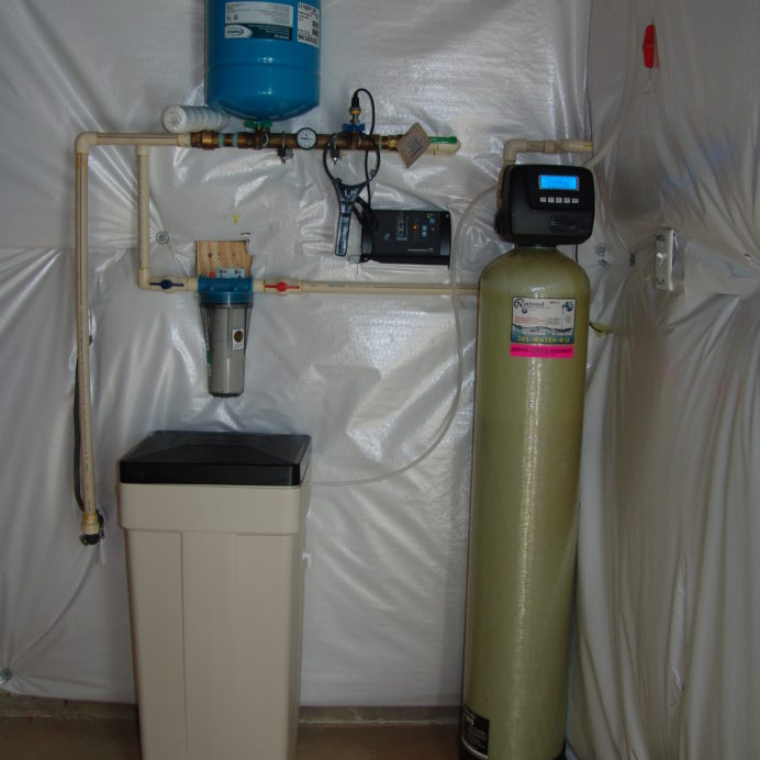 A Water Softener and Brine Tank for hard water, a Whole House Sediment Filter and a Constant Water Pressure System