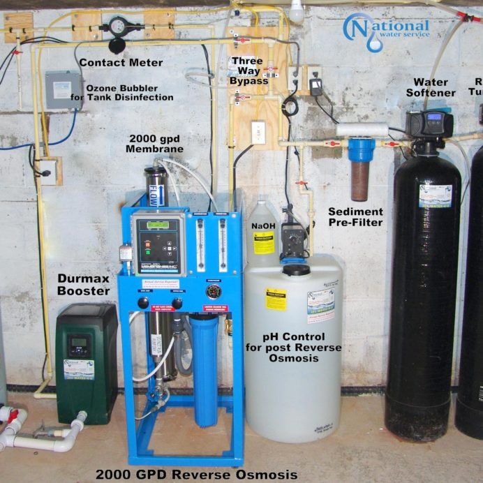 A 800 Gallon Water Storage Tank, Water Re-Booster, Ozone Filter, a Whole House Reverse Osmosis System for 99.9% contamination free water, Chemical Feeder Pump and Solution Tank for pH and corrosion control, a Whole House Sediment Filter, a Water Softener and Brine Tank for hard water, a Re-Purposed Turbidity Filter