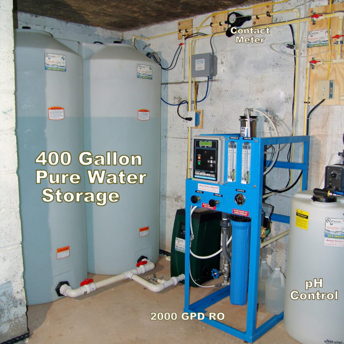 Two 400 Gallon Water storage Tanks, a water Re-Booster, An Ozone Filter, a Whole House Reverse Osmosis for 99% contamination free water, a Chemical Feeder Pump and Solution Tank for pH control and corrosion control