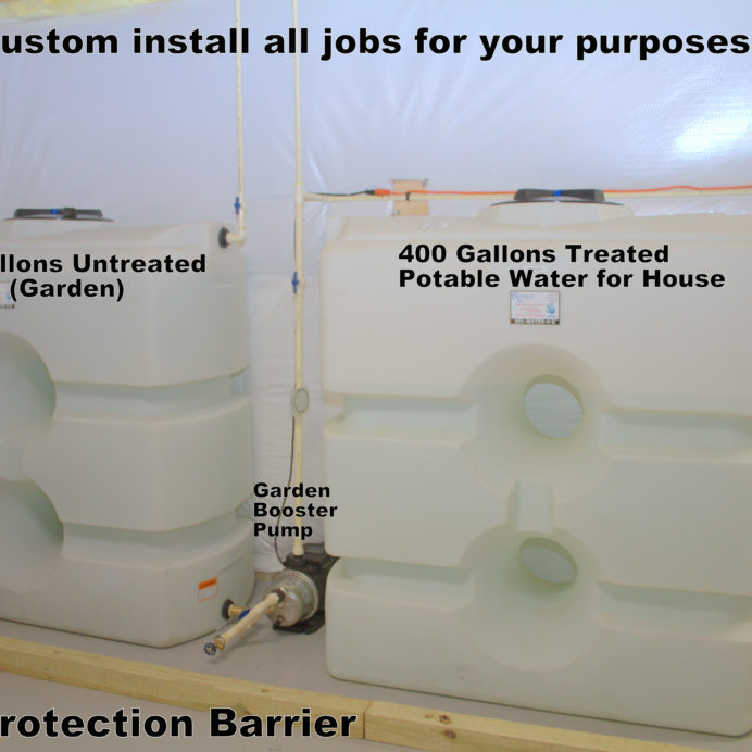 Two 400 Gallon Water Storage Tanks with water Re-Pressure Booster Pumps and Flood Protection Barrier