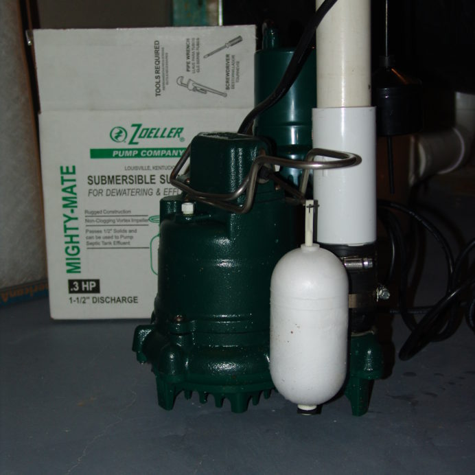 Submersible Sump Pump, prior to install