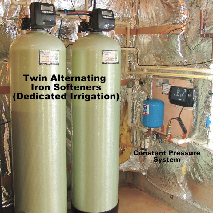 Irrigation specific Twin Alternating Water Softeners for the removal of iron from water and a Constant Water Pressure Pump Control System