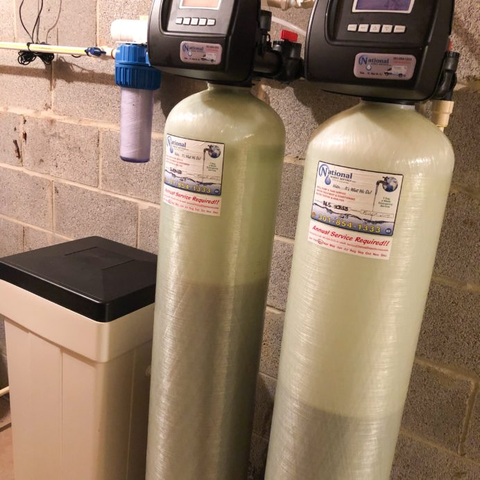 Water Softener and Brine tank for hard water, a Whole House Sediment Filter, and an IBSB System (Iron Breaker Sulfur Breaker)