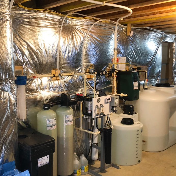 We installed a Whole House Reverse Osmosis System for up to 99.9% contamination free water, a Chemical Feeder Pump with a 55 gallon Solution tank for pH and Corrosion control, a 20 inch Whole House Sediment Filter, 300 gallon clean water storage with a water pressure re-booster with a flood protection alarm, and a Twin Water Softener with a Brine Tank for hard water for a happy customer located in Westminster, Maryland!