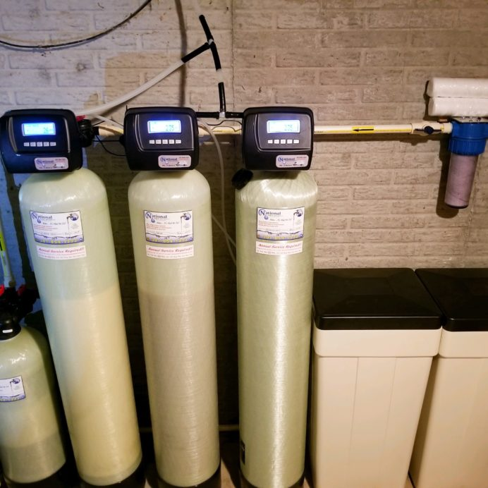 We installed a new well water pressure tank, a Nitrates in water remediation tank, a Water Softener with Brine Tank for hard water, an Acid Neutralizer for pH and corrosion control and a whole house Sediment Filter for a new home in Mt. Airy, MD!