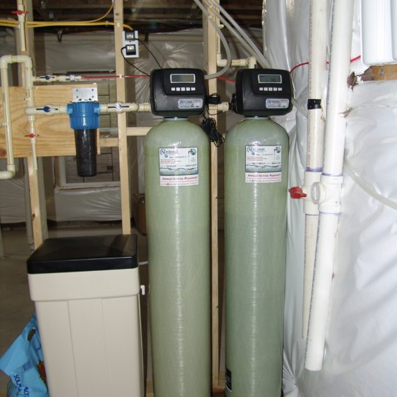 a water softener, a sediment filter and a multi media tank