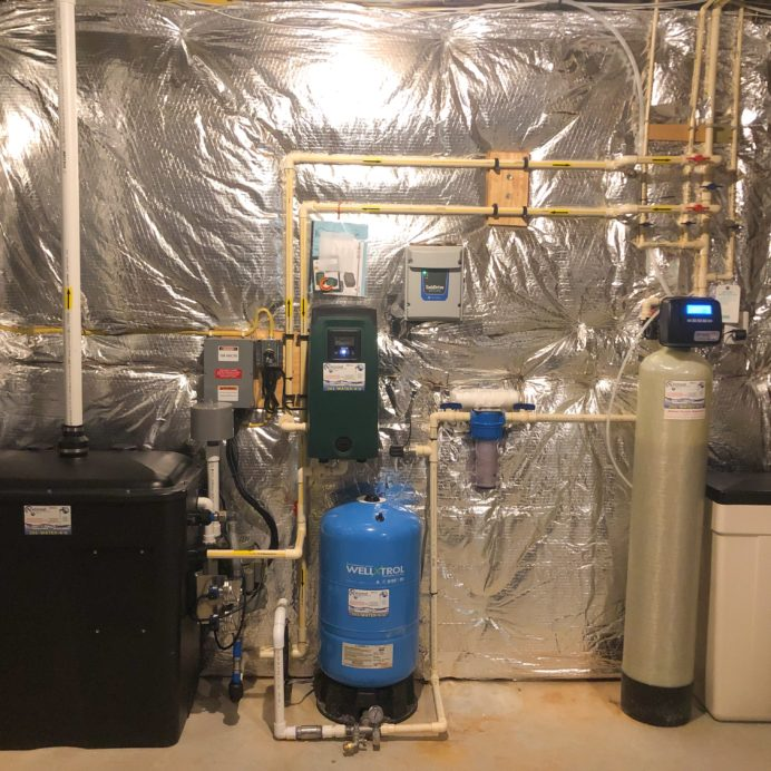 We installed an AiRaider for the remediation of radon in water with a water pressure booster pump, a water softener for hard water & a whole house sediment filter. Additionally, we installed a well pump constant water pressure control box with a new pressure tank to allow the home owner to control their water pressure at all times!!