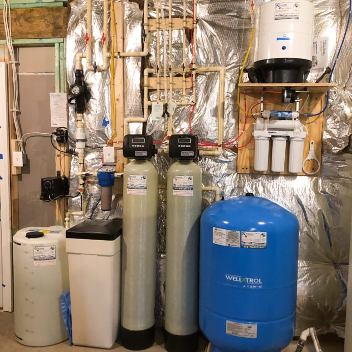 Chemical Feeder for corrosion & pH, Water Softener for hard water, a Birm Tank for iron, a Reverse Osmosis for up too 99% contaminant free drinking water and a pressure tank