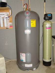 reverse osmosis, a water heater and a water softener