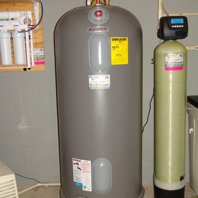 Rheem Marathon Hot Water Heater and a Water Softener for Hard Water