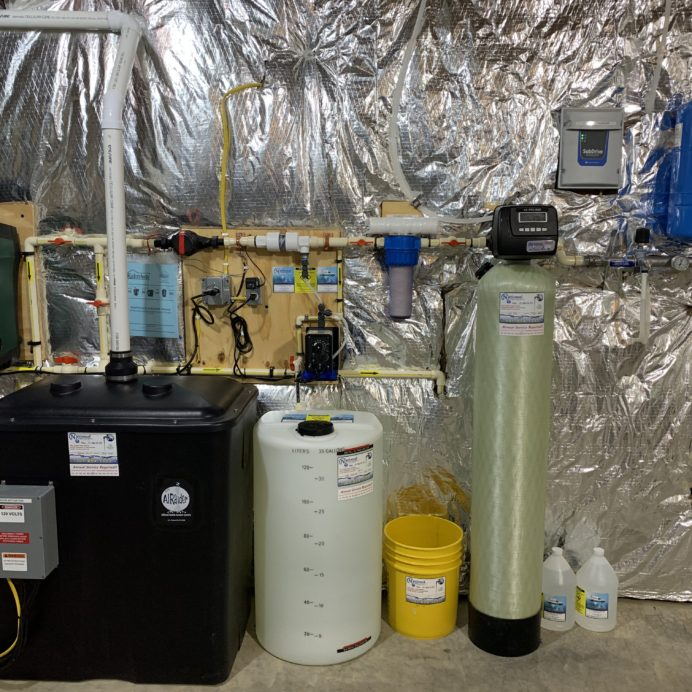 sump pump, a radon remediation and pressure booster, Solution feeder, sediment filter, kx pro and a constant pressure system