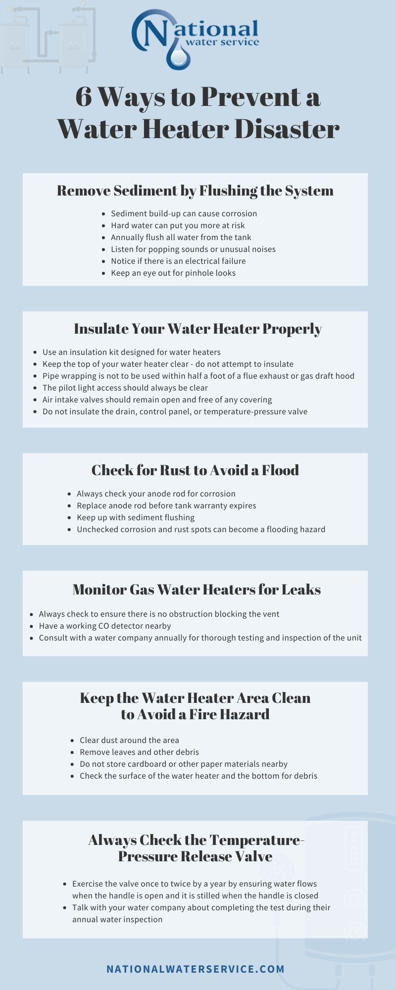 6 Ways to Prevent a Water Heater Disaster Infographic